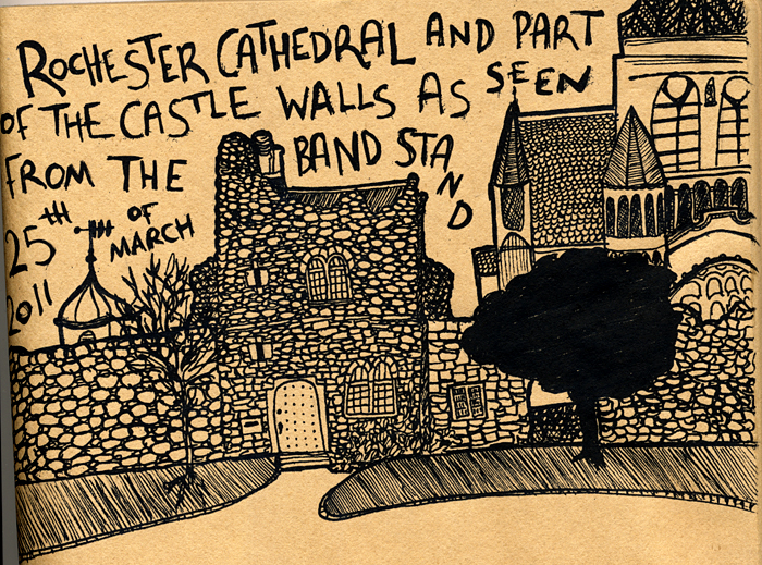drawing of rochester castle gardens