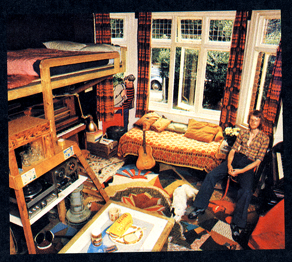 room with bunkbeds and piano
