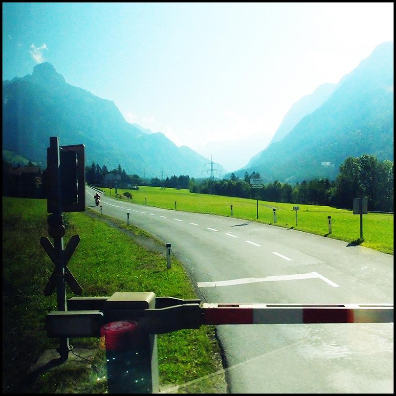 road crossing in the austrian alps