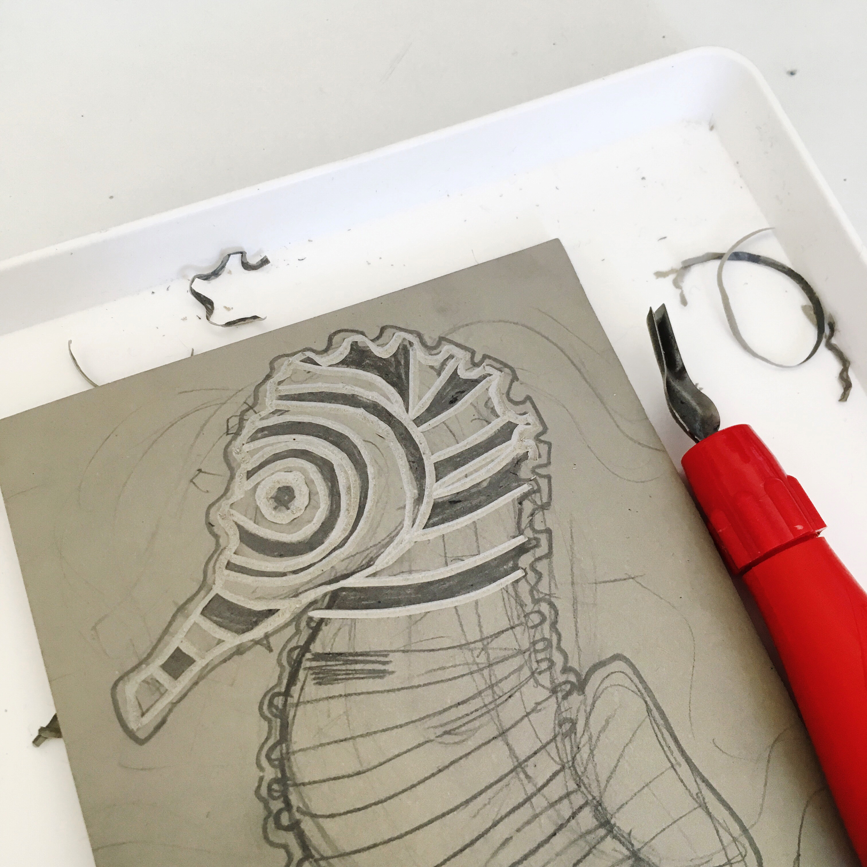 cutting image on lino plate