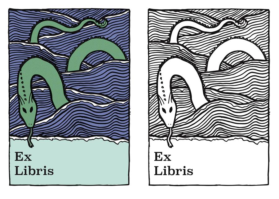 Sea serpent bookplate artwork