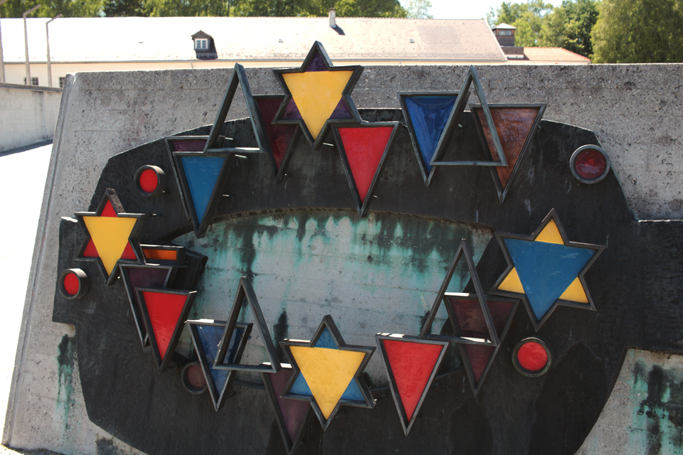 Dachau memorial with glass triangles