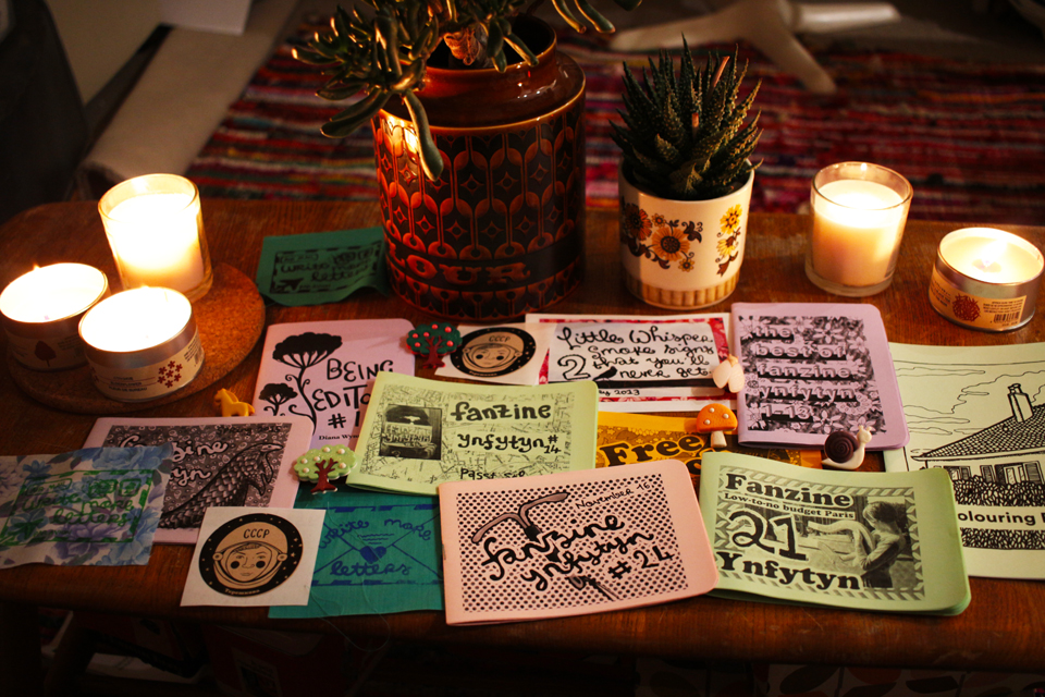 zines on table