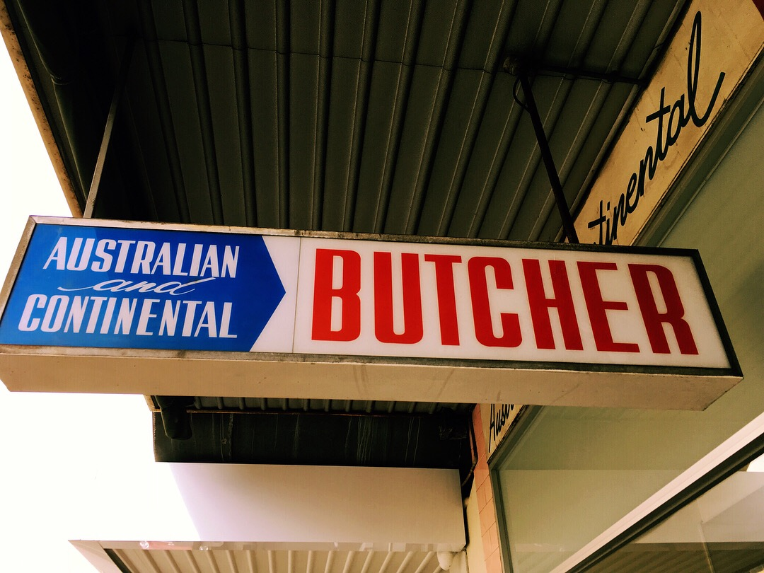australian continental butcher vintage sign