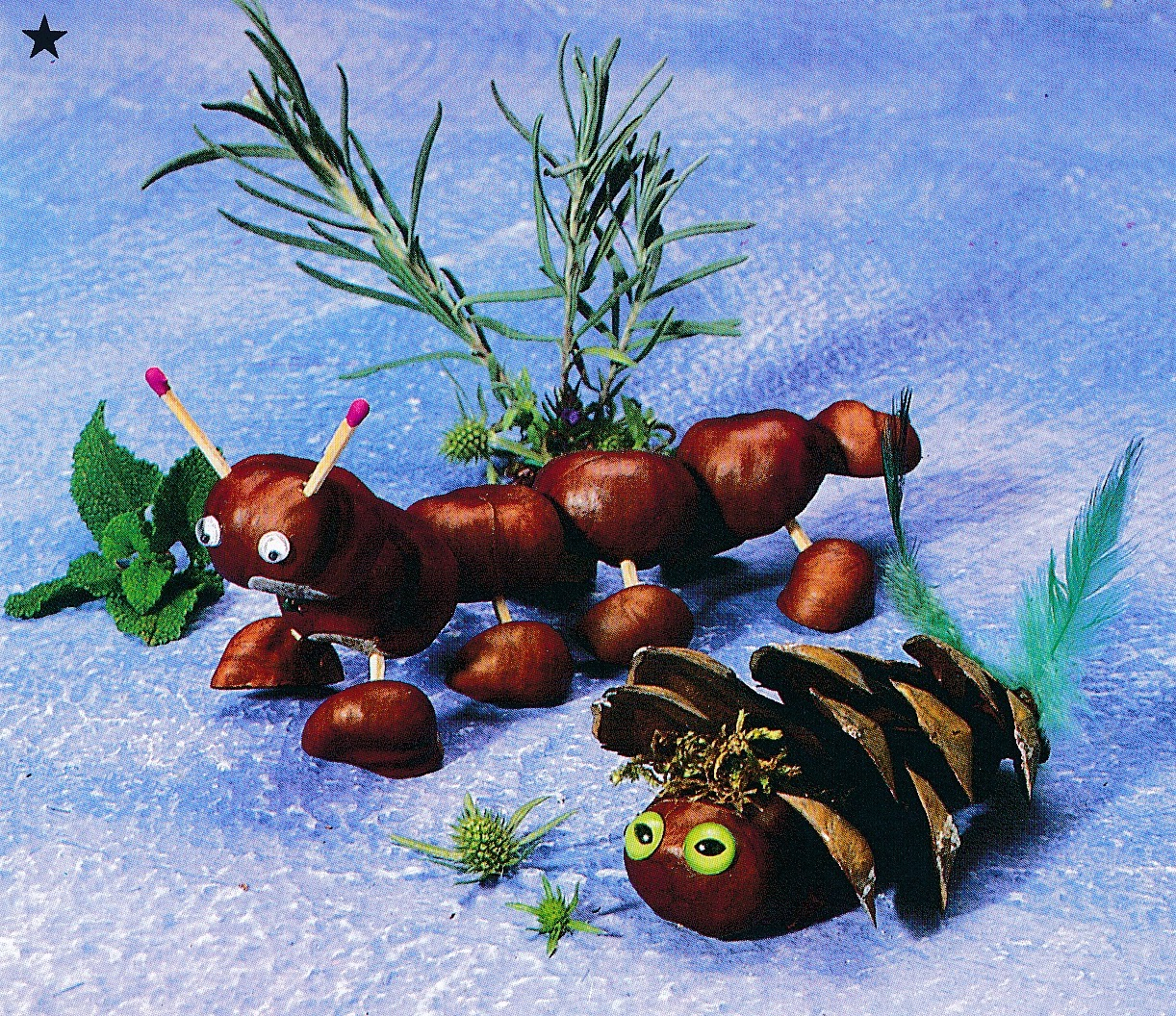 animals made of conkers